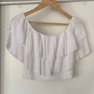 Leith crop off the shoulder top in white size s